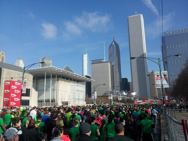 Runners toe the line at the 2013 Shamrock Shuffle. I would claim many of their beer tickets for the post-race party