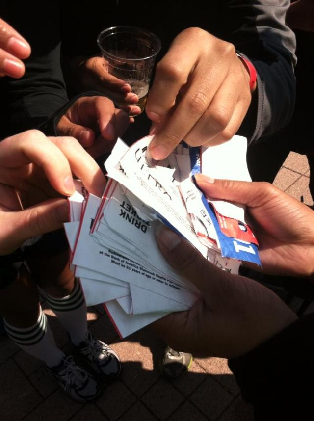 This is what a fistful of free beer tickets looks like