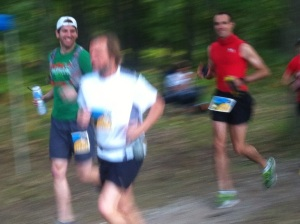 That's me in the green and Dan in the red, coming through the Start/Finish area after our first small 1.2-mile loop