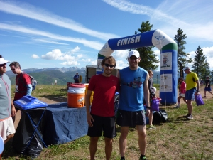 Far away from the forests of Michigan, here's Jay and I at the top of a mountain at the end of the Berry Picker Trail run in Vail in early August